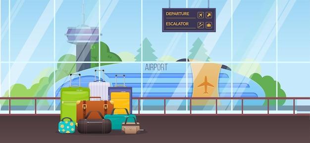 Internationaler flughafen innenpaket tasche koffer reisetourismus. gepäck und gepäck in der nähe des fensters