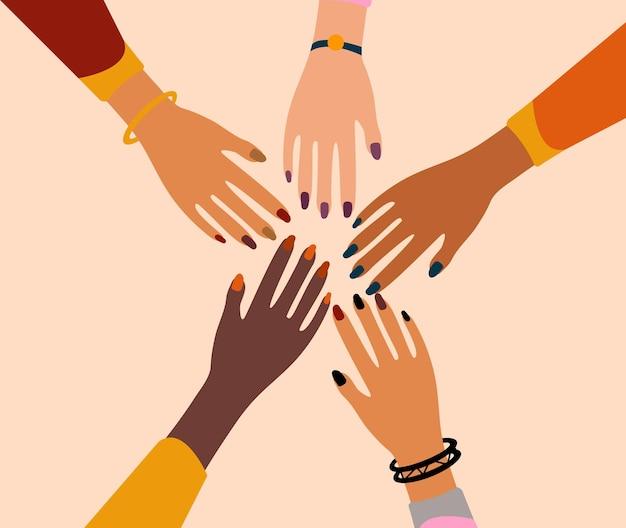 Internationaler frauentag 8. märz. feminismus weibliche hände zusammen grußkarte. mädchenpower. kampf für freiheit, unabhängigkeit, gleichheit. illustration.