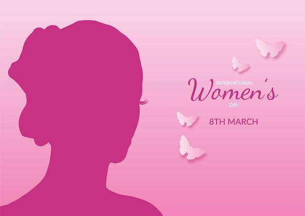 Internationaler frauentag hintergrund mit weiblicher silhouette und schmetterlingen