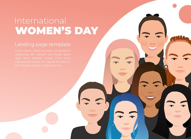 Internationaler frauentag. weibliche unterschiedliche gesichter unterschiedlicher ethnischer zugehörigkeit.