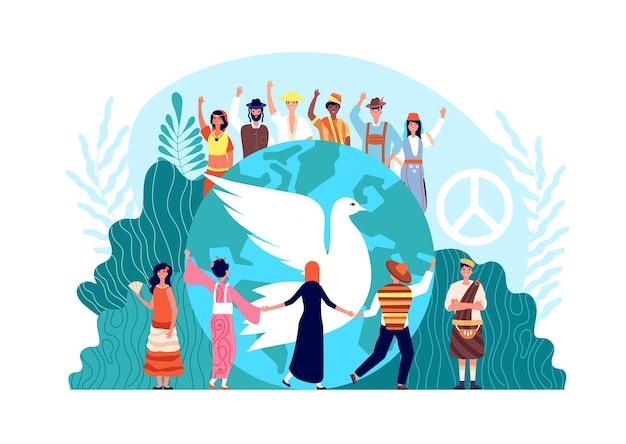 Internationaler friedenstag. globale harmonie, einheit und religion der welt. hoffnung oder liebessymbol, taube und verschiedene menschen zusammen vektorkonzept. hoffnung internationale einheit, weltliebe freiheit illustration