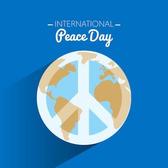 Internationaler friedenstag mit symbol des friedens auf erde