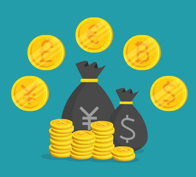 Internationaler geldwechsel für bitcoin-währung