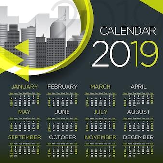 Internationaler geschäftskalender 2019 - vektorschablone