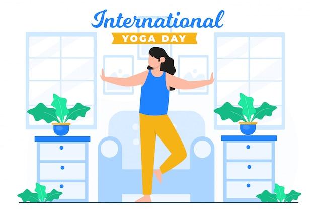 Internationaler glücklicher tag des yoga