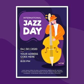 Internationaler jazz day flyer mit flachem design