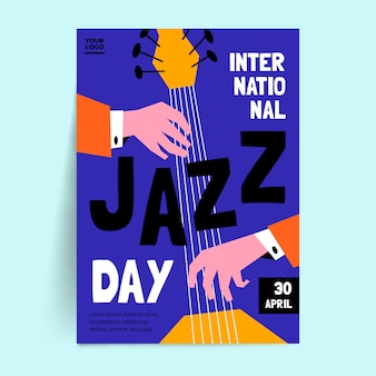 Internationaler jazz day flyer mit flachem design