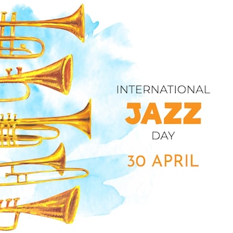 Internationaler jazz-tag des aquarelldesigns