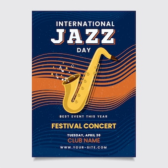 Internationaler jazz-tag des vintage-designs
