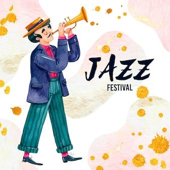 Internationaler jazz tag illustrierter musiker