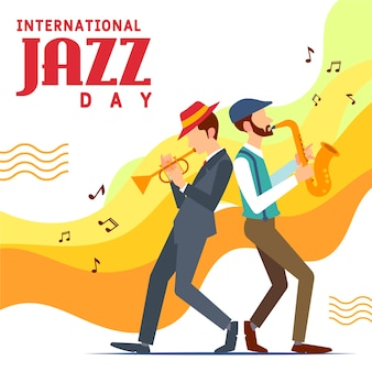 Internationaler jazz-tag in flachem design