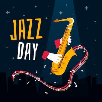 Internationaler jazz-tag in flachem design