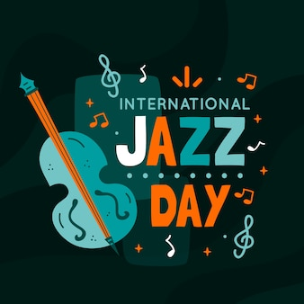Internationaler jazz tag mit bass und noten