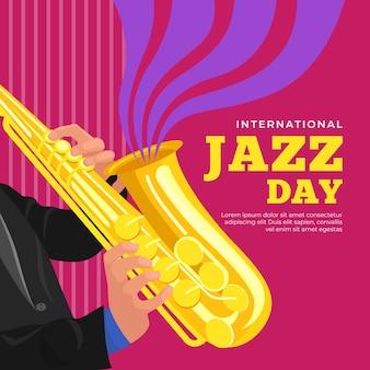 Internationaler jazz-tag mit mann, der saxophon spielt
