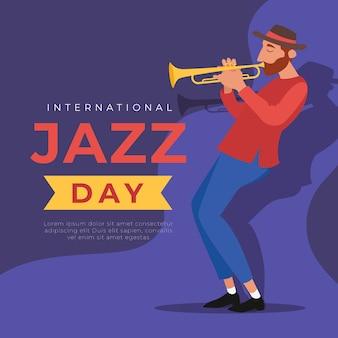 Internationaler jazz-tag mit mann, der trompete spielt