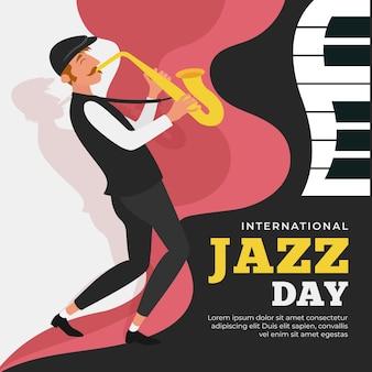 Internationaler jazz-tag mit person, die saxophon spielt