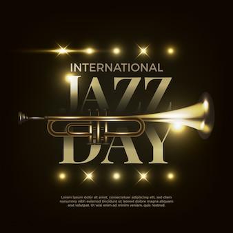 Internationaler jazz-tag mit realistischem design