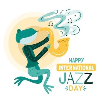 Internationaler jazz-tag mit saxophon spielender eidechse