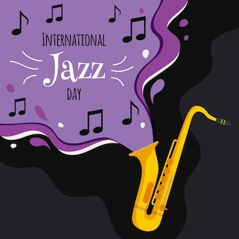 Internationaler jazz tag mit saxophon und noten
