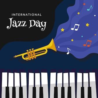 Internationaler jazz tag mit trompete und klavier