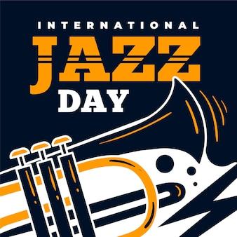 Internationaler jazz tag mit trompete