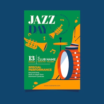 Internationaler jazz-tagesplakatschablonenstil