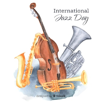 Internationaler jazztaghintergrund des aquarells