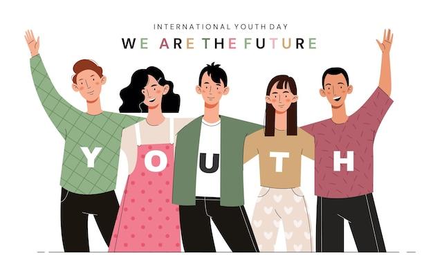 Internationaler jugendtag. junge mädchen und jungs umarmen sich. gesellschaft von freunden.