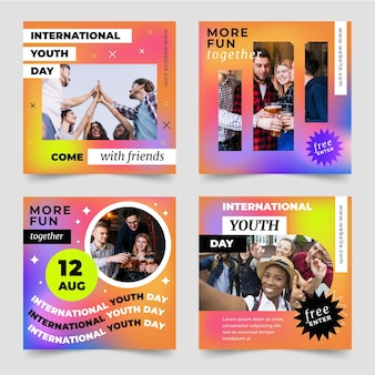 Internationaler jugendtag mit farbverlauf postet sammlung mit foto