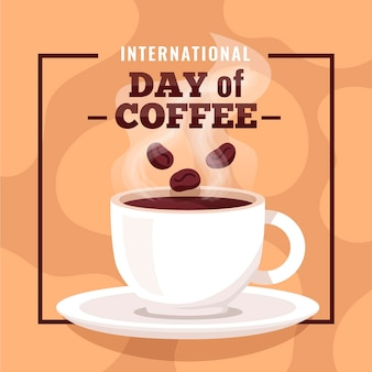 Internationaler kaffeetag des flachen designs mit tasse