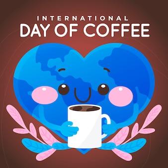 Internationaler kaffeetag des handgezeichneten entwurfs
