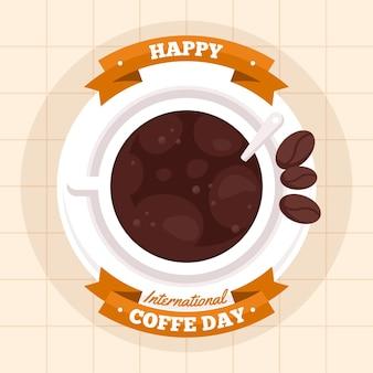 Internationaler kaffeetag mit flachem design