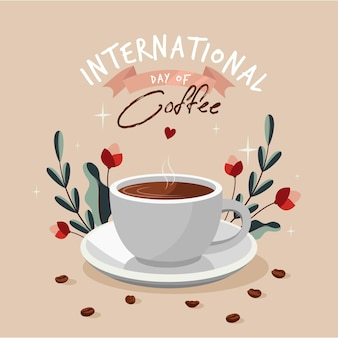 Internationaler kaffeetag mit flachem design