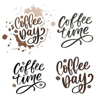 Internationaler kaffeetag schriftzug set