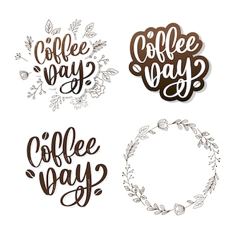 Internationaler kaffeetagesaufkleber eingestellt