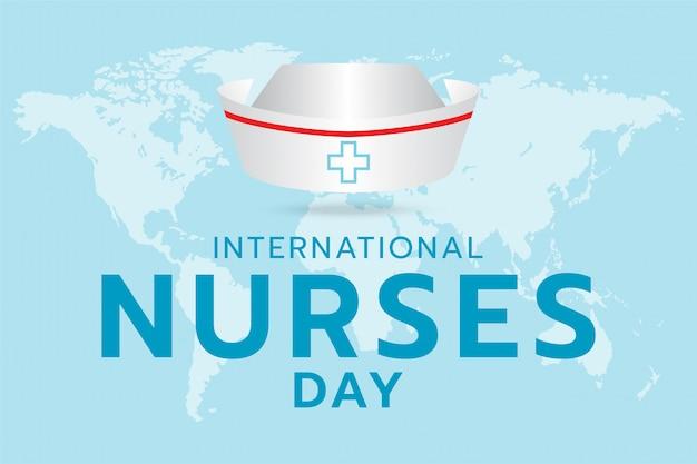 Internationaler krankenschwestertag, erzeugte bildkrankenschwester-kappe und textdesign auf der weltkarte und im cyanfarbenen hintergrund.