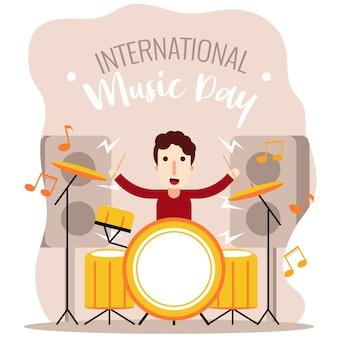 Internationaler musiktag des schlagzeugerjungen