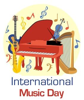 Internationaler musiktag mit musikinstrumenten vektor musikinstrumententag der musik poster