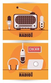 Internationaler radiotag mit retro-aparatus und laptop