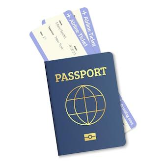 Internationaler reisepass mit flugtickets realistisches vektorreise-staatsbürgerschaftsdokument