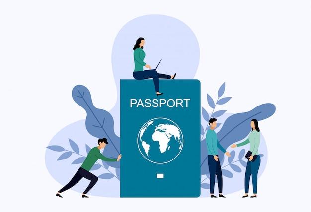 Internationaler reisepass mit menschen.