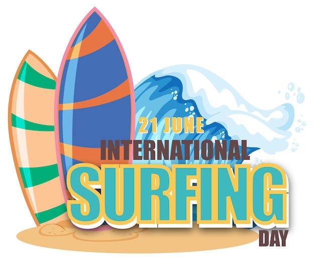 Internationaler surftag banner mit einem surfbrett in wasserwelle isoliert
