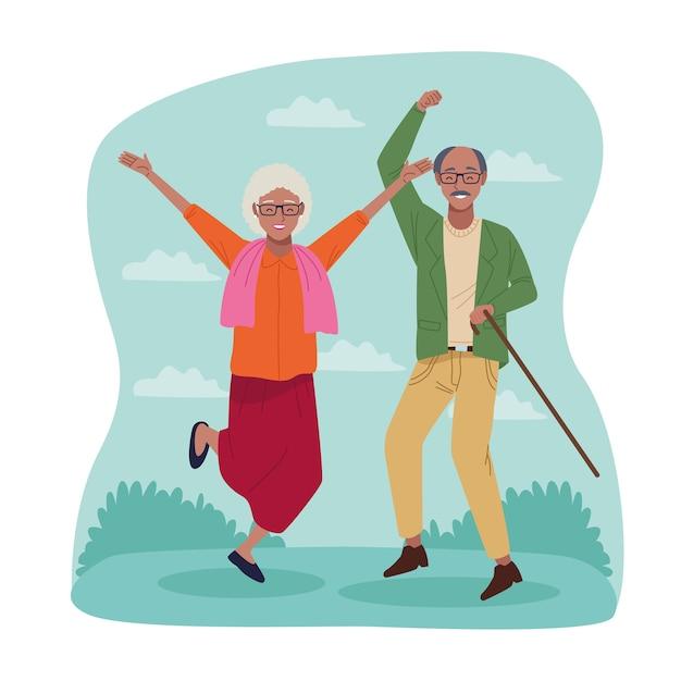 Internationaler tag älterer menschen mit altem afro-paar, das feiert