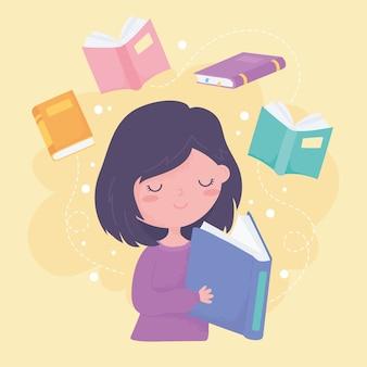 Internationaler tag der alphabetisierung, mädchen liest lehrbuch und bücher bildung