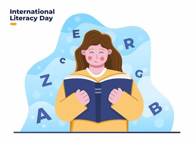 Internationaler tag der alphabetisierung mit glücklicher frau, die das buch liest