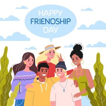 Internationaler tag der freundschaft. illustration der freundesgruppe vom umarmen zusammen.