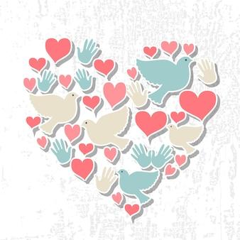 Internationaler tag der friedensvektorillustration. flaches design-stil tag des friedens-symbole. tag des friedens abzeichen mit taube, herz, hand. tag des friedens vorlage für postkarte, einladungskarte, druck