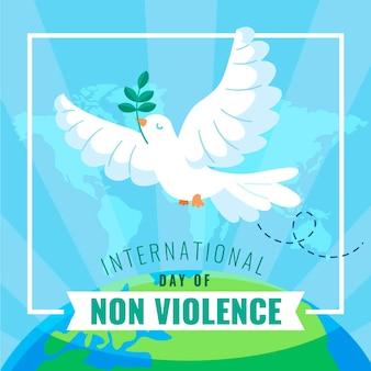 Internationaler tag der gewaltlosigkeit im flachen design