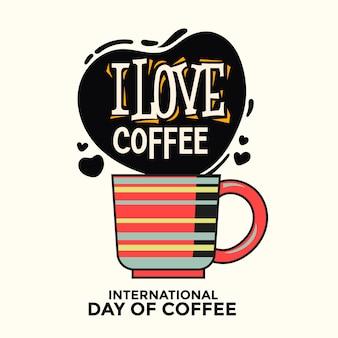 Internationaler tag der kaffee-grußkarte