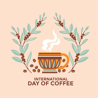 Internationaler tag der kaffee-grußkarte